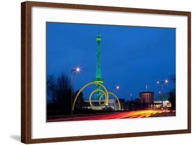Berlin, Radio Tower, Looping Sculpture, Night-Catharina Lux-Framed Photographic Print