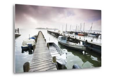 Boats, Jetties, Chiemsee, Fraueninsel, Morning Fog, Stormy Atmosphere-Frank Lukasseck-Metal Print