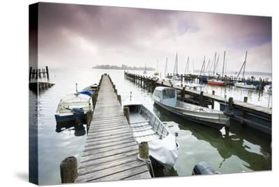 Boats, Jetties, Chiemsee, Fraueninsel, Morning Fog, Stormy Atmosphere-Frank Lukasseck-Stretched Canvas Print
