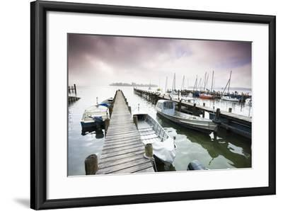 Boats, Jetties, Chiemsee, Fraueninsel, Morning Fog, Stormy Atmosphere-Frank Lukasseck-Framed Photographic Print