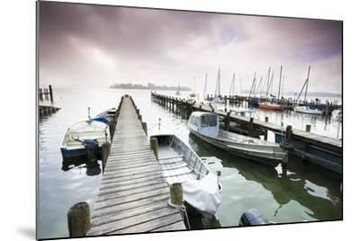 Boats, Jetties, Chiemsee, Fraueninsel, Morning Fog, Stormy Atmosphere-Frank Lukasseck-Mounted Photographic Print