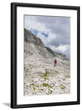 Hiker in the Way to the Summit of the Piz BoŽ, the Dolomites, South Tyrol, Italy, Europe-Gerhard Wild-Framed Photographic Print