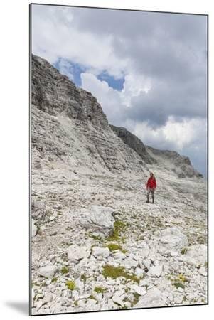 Hiker in the Way to the Summit of the Piz BoŽ, the Dolomites, South Tyrol, Italy, Europe-Gerhard Wild-Mounted Photographic Print