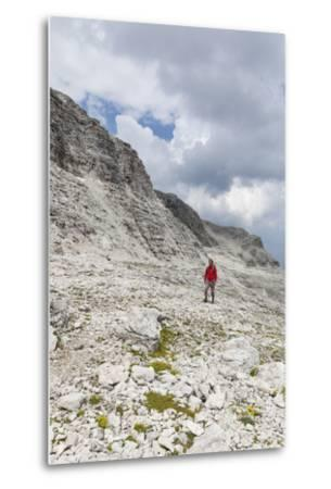 Hiker in the Way to the Summit of the Piz BoŽ, the Dolomites, South Tyrol, Italy, Europe-Gerhard Wild-Metal Print