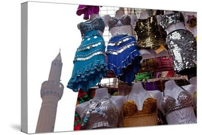 Egypt, Cairo, Islamic Old Town, Clothes Market and Minaret-Catharina Lux-Stretched Canvas Print