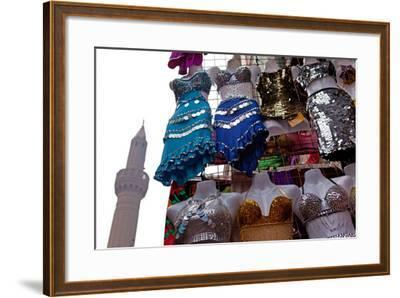 Egypt, Cairo, Islamic Old Town, Clothes Market and Minaret-Catharina Lux-Framed Photographic Print
