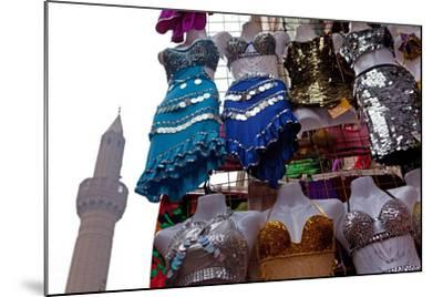 Egypt, Cairo, Islamic Old Town, Clothes Market and Minaret-Catharina Lux-Mounted Photographic Print