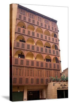 Egypt, Cairo, Islamic Old Town, Hotel Riad, Wooden Facade-Catharina Lux-Stretched Canvas Print