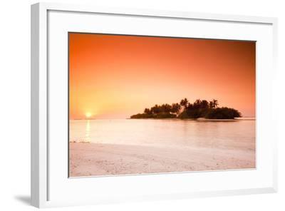 The Maldives, Sea, Palm Island, Sunrise-Frank Lukasseck-Framed Photographic Print