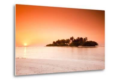 The Maldives, Sea, Palm Island, Sunrise-Frank Lukasseck-Metal Print