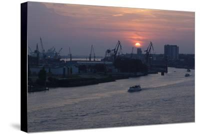 Hamburg, Norderelbe, Sunset-Catharina Lux-Stretched Canvas Print