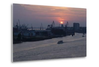 Hamburg, Norderelbe, Sunset-Catharina Lux-Metal Print