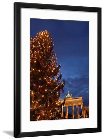 Germany, Berlin, the Brandenburg Gate, Night, Christmas Tree-Catharina Lux-Framed Photographic Print