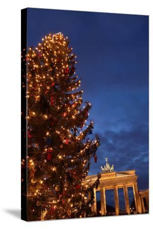 Germany, Berlin, the Brandenburg Gate, Night, Christmas Tree-Catharina Lux-Stretched Canvas Print