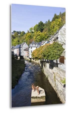 Germany, North Rhine-Westphalia, Monschau, Rur, Half-Timbered Houses, Historical-Frank Lukasseck-Metal Print