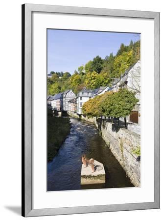 Germany, North Rhine-Westphalia, Monschau, Rur, Half-Timbered Houses, Historical-Frank Lukasseck-Framed Photographic Print