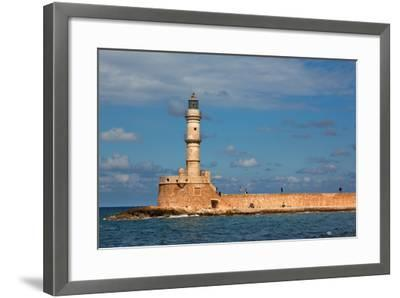 Greece, Crete, Chania, Venetian Harbour, Lighthouse-Catharina Lux-Framed Photographic Print