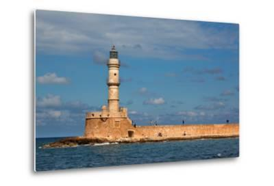 Greece, Crete, Chania, Venetian Harbour, Lighthouse-Catharina Lux-Metal Print