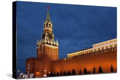 Moscow, Red Square, Redeemer Tower, at Night-Catharina Lux-Stretched Canvas Print