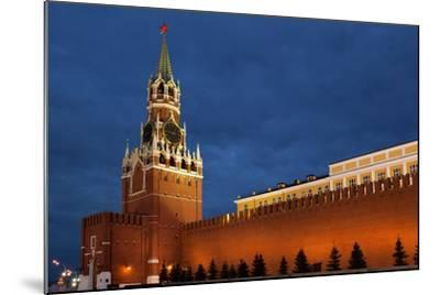 Moscow, Red Square, Redeemer Tower, at Night-Catharina Lux-Mounted Photographic Print