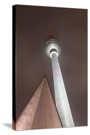 Germany, Berlin, Television Tower, Night, Winter-Catharina Lux-Stretched Canvas Print