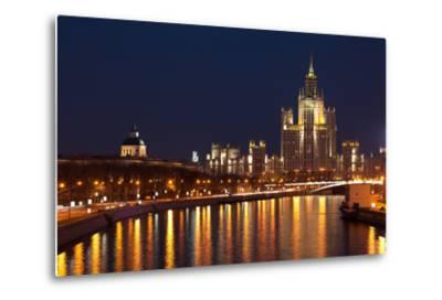 Moscow, Residential House Kotelnitscheskaja Nabereschnaja in Moscow, by Night-Catharina Lux-Metal Print