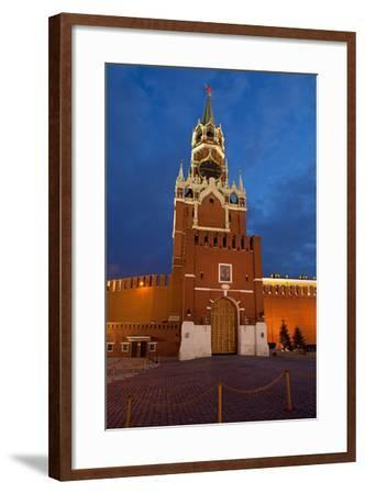 Moscow, Red Square, Redeemer Tower, at Night-Catharina Lux-Framed Photographic Print