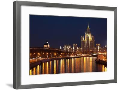 Moscow, Residential House Kotelnitscheskaja Nabereschnaja in Moscow, by Night-Catharina Lux-Framed Photographic Print
