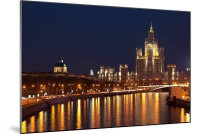 Moscow, Residential House Kotelnitscheskaja Nabereschnaja in Moscow, by Night-Catharina Lux-Mounted Photographic Print