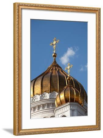 Moscow, Cathedral of Christ the Saviour, Detail, Golden Dome-Catharina Lux-Framed Photographic Print