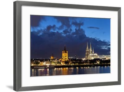 Germany, North Rhine-Westphalia, Cologne, Bank of River Rhine, Cathedral-Chris Seba-Framed Photographic Print