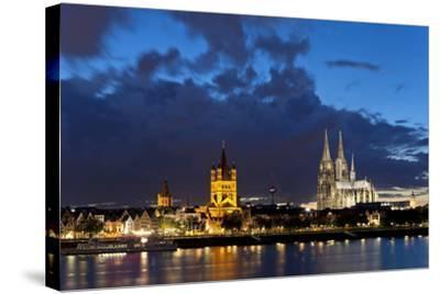 Germany, North Rhine-Westphalia, Cologne, Bank of River Rhine, Cathedral-Chris Seba-Stretched Canvas Print
