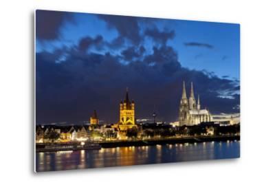 Germany, North Rhine-Westphalia, Cologne, Bank of River Rhine, Cathedral-Chris Seba-Metal Print