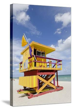 Beach Lifeguard Tower '3 Sts', Atlantic Ocean, Miami South Beach, Art Deco District, Florida, Usa-Axel Schmies-Stretched Canvas Print