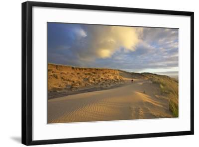 Stroller in the Costal Cliffs at the 'Rotes Kliff' on the Island of Sylt in the Evening Light-Uwe Steffens-Framed Photographic Print