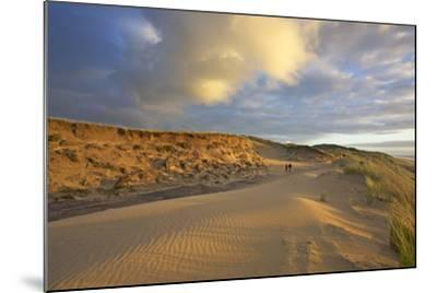 Stroller in the Costal Cliffs at the 'Rotes Kliff' on the Island of Sylt in the Evening Light-Uwe Steffens-Mounted Photographic Print