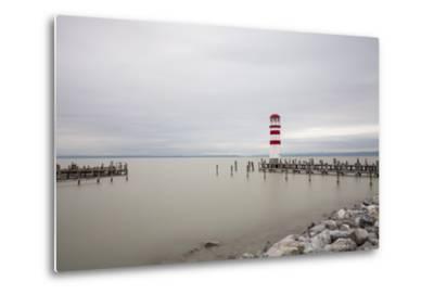 Lighthouse in Podersdorf Am See, Lake Neusiedl, Burgenland, Austria-Gerhard Wild-Metal Print