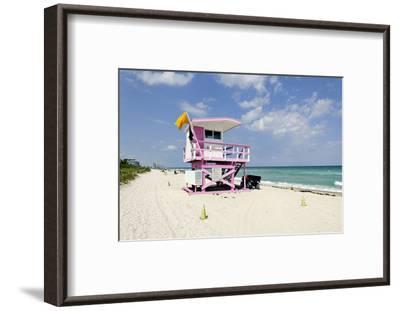 Beach Lifeguard Tower '83 St', Atlantic Ocean, Miami South Beach, Florida, Usa-Axel Schmies-Framed Photographic Print