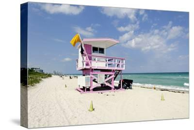 Beach Lifeguard Tower '83 St', Atlantic Ocean, Miami South Beach, Florida, Usa-Axel Schmies-Stretched Canvas Print