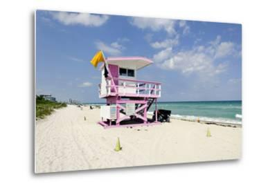 Beach Lifeguard Tower '83 St', Atlantic Ocean, Miami South Beach, Florida, Usa-Axel Schmies-Metal Print