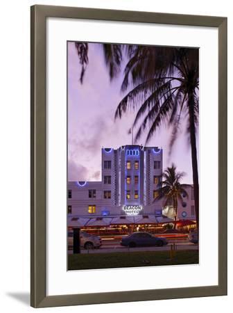 Beacon Hotel, Facade, Ocean Drive at Dusk, Miami South Beach, Art Deco District, Florida, Usa-Axel Schmies-Framed Photographic Print
