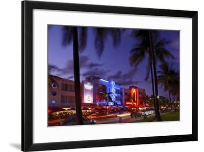 Colony Hotel, Facade, Ocean Drive at Dusk, Miami South Beach, Art Deco District, Florida, Usa-Axel Schmies-Framed Photographic Print