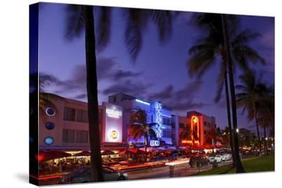 Colony Hotel, Facade, Ocean Drive at Dusk, Miami South Beach, Art Deco District, Florida, Usa-Axel Schmies-Stretched Canvas Print