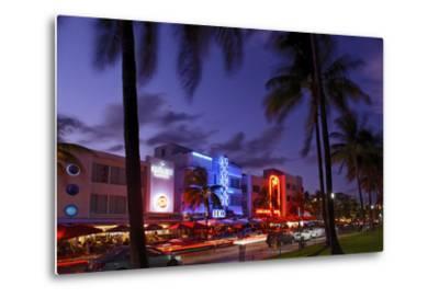 Colony Hotel, Facade, Ocean Drive at Dusk, Miami South Beach, Art Deco District, Florida, Usa-Axel Schmies-Metal Print