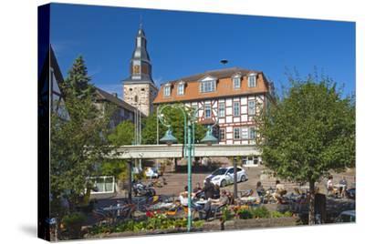Germany, Hessen, Northern Hessen, Bad Zwesten, Old Town, City Hall, Restaurant-Chris Seba-Stretched Canvas Print