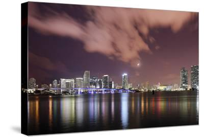 Skyline of Miami Downtown, Miami, Port Boulevard Bridge, Night, Florida, Usa-Axel Schmies-Stretched Canvas Print