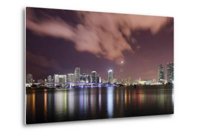 Skyline of Miami Downtown, Miami, Port Boulevard Bridge, Night, Florida, Usa-Axel Schmies-Metal Print