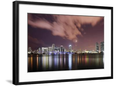Skyline of Miami Downtown, Miami, Port Boulevard Bridge, Night, Florida, Usa-Axel Schmies-Framed Photographic Print