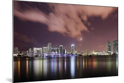 Skyline of Miami Downtown, Miami, Port Boulevard Bridge, Night, Florida, Usa-Axel Schmies-Mounted Photographic Print