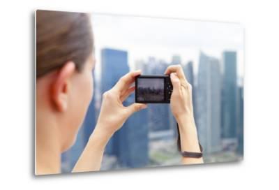European Tourist Taking a Picture of Singapore Skyline-Harry Marx-Metal Print
